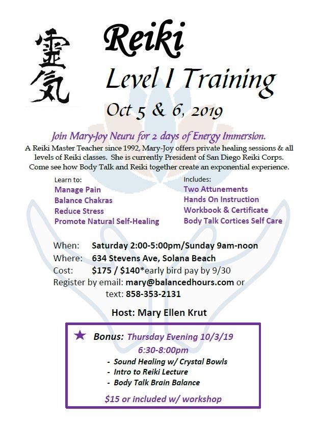 Reiki I Flyer for Oct 5 & 6, 2019 (1)